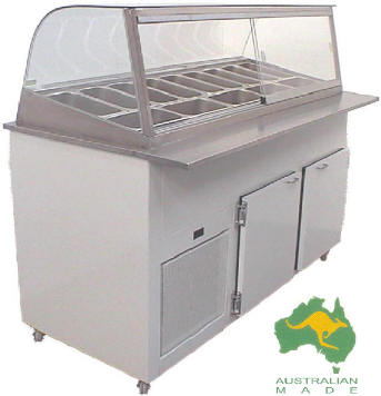 VIP Food Preparation Bar Enclosed Top; Single or double row pots; 6-20 x 1/3 size pots; standard and made to order