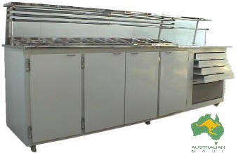 VIP Pizza Preparation Bar Side Marble & Drawers; 9-12 x1/3 size pots, standard and made to order