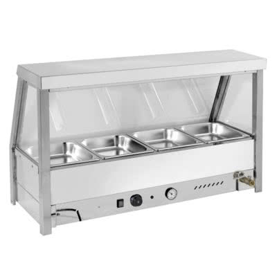 Heated Wet Angled Countertop Display 4 × ½ size Pan – Single row 10amp