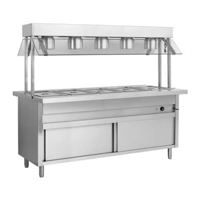 BSL6H Heated Six Pan Bain Marie with Top Lamp Warmers