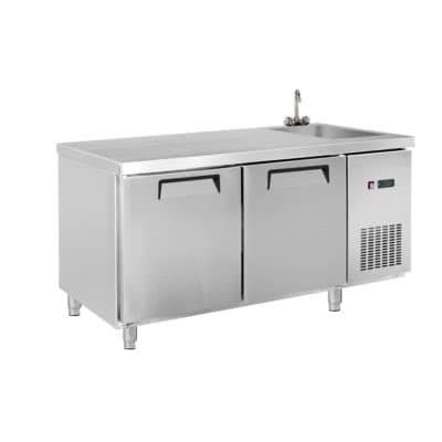LDWB180CS Two Door Stainless Steel Workbench Fridge with Sink