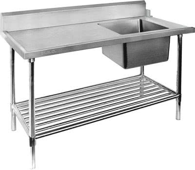 SBBD-7-1800R – Right Inlet Single Sink Dishwasher Bench Bowl Size: 400×400×300