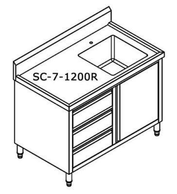 SC-7-1200R-H CABINET WITH RIGHT SINK Bowl size 450mmW×450D×300H