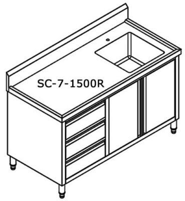 SC-7-1500R-H CABINET WITH RIGHT SINK