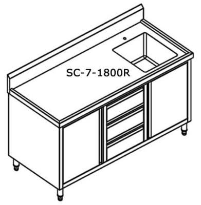 SC-7-1800R-H CABINET WITH RIGHT SINK Bowl size 450mmW×450D×300H