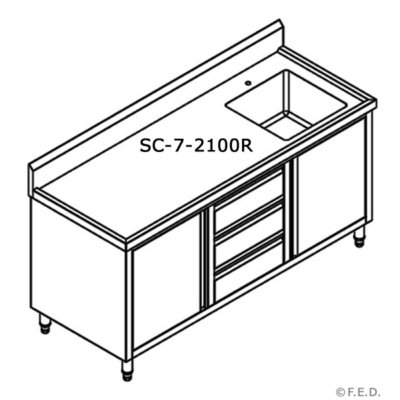 SC-7-2100R-H CABINET WITH RIGHT SINK Bowl size 450mmW×450D×300H