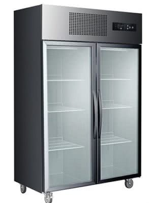Double Glass Door Black Stainless Steel Upright Freezer – SUFG1000B