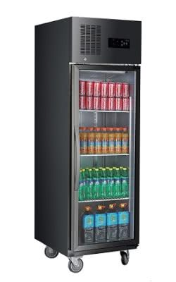 Single Glass Door Upright Fridge Black Stainless Steel – SUCG500B