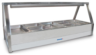 Roband Angled Glass Hot Food Display Bar 10 x 1/2 size pans – Double row with roller door 15amp