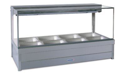 Roband Square Glass Hot Food Display Bar, 8 pans double row with roller doors 13.9amp