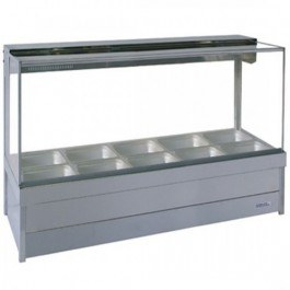 Roband Square Glass Hot Food Display Bar, 10 pans double row with roller doors 15amp