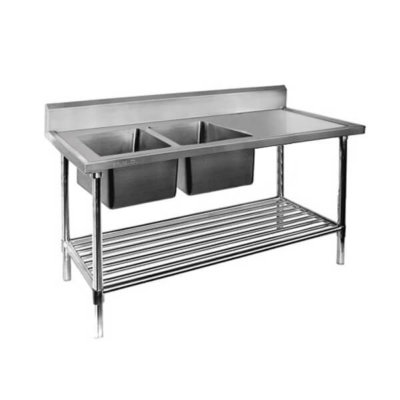 DSB6-1500L/A  Double Left Sink Bench with Pot Undershelf Bowl size 400mmW×400D×300H