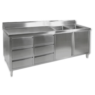 DSC-2400R-H KITCHEN TIDY CABINET WITH DOUBLE RIGHT SINKS