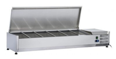 VRX1500S Refrigerated Ingredient Unit with S/S Lid VRX1500/380 Deluxe Prep Top | 6 x 1/3 pans