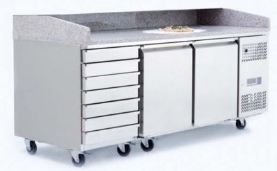 Atosa 2 Door Refrigerated Pizza Table With Drawers 2010 mm