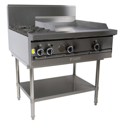 2 Burner Cook Top with 600mm Griddle Plate