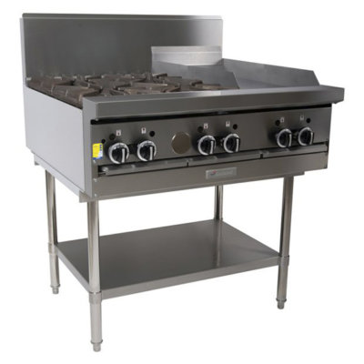4 Burner Cook Top with 600mm Griddle Plate