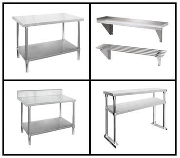 S18: Work Benches - Wall Shelving - Overhead Shelving - Work Bench Cabinets - Dishwasher Inlet/Out Benches