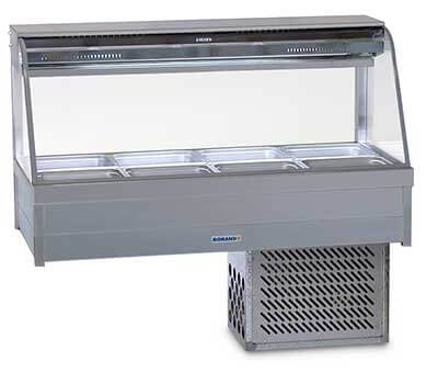 Roband Curved Glass Refrigerated Display Bar – 8 x 1/2 size Pans
