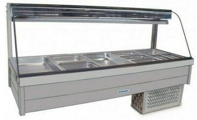 Roband Curved Glass Refrigerated Display Bar – 10 x 1/2 size Pans