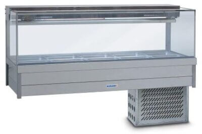 Roband Square Glass Refrigerated Display Bar – 10 x 1/2 Pans