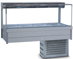 Roband Square Glass Refrigerated Display Bar – 8 x 1/2 Pans