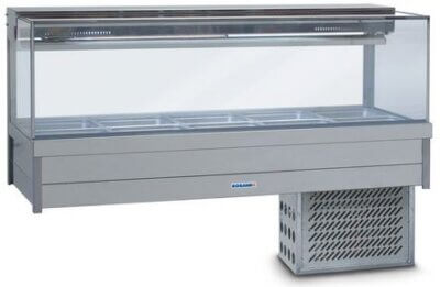 Roband Square Glass Refrigerated Display Bar – 12 x 1/2 Pans