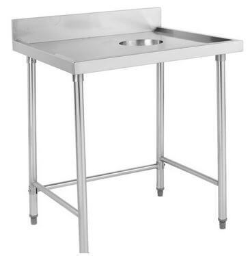S/S Right Side Waste Hole Bench with Splashback