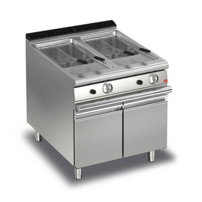 BARON 15+15L Double Basin Gas Deep Fryer With Piezo Ignition