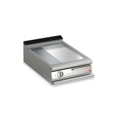 BARON 1 Burner Electric Fry Top With 2/3 Smooth 1/3 Ribbed Chrome Plate And Thermostat Control