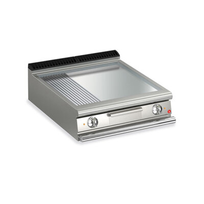 BARON 2 Burner Gas Fry Top With 2/3 Smooth 1/3 Ribbed Mild Steel Plate