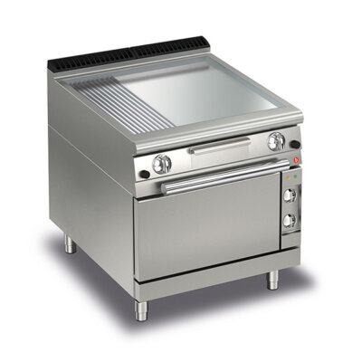 BARON 2 Burner Gas Fry Top With 2/3 Smooth 1/3 Ribbed Chrome Plate, Thermostat Control And Electric Oven