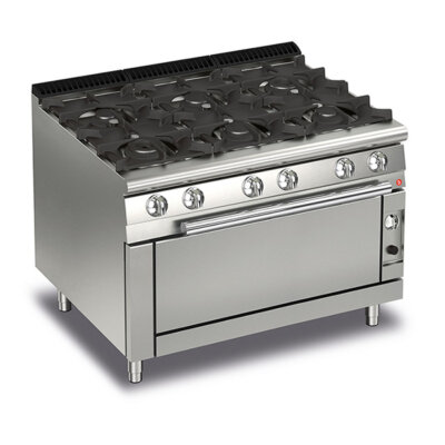 BARON 6 Burner Gas Cook Top With Full Length Gas Oven