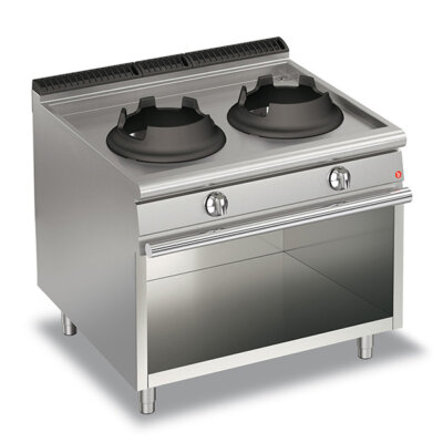 BARON 28kW High Power Double Burner Gas Wok With Open Cabinet